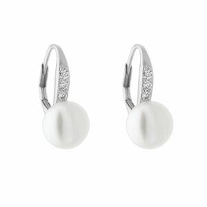 Stříbrné perlové náušnice Velikost kamene: 9 mm