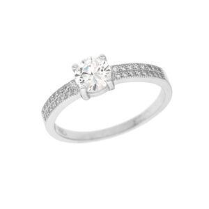Stříbrný prsten solitér Velikost prstenu: 57